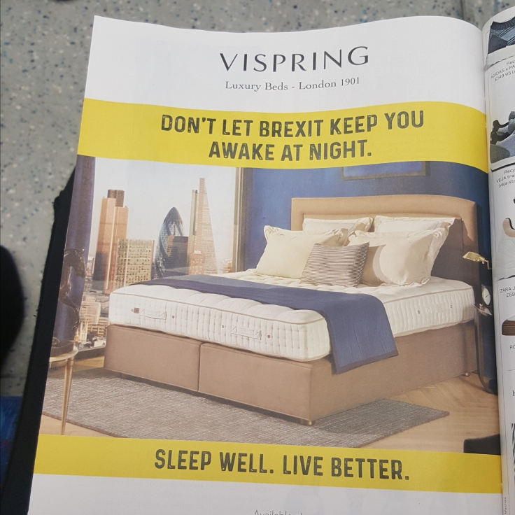 "A Vispring Luxury Beds ad, featuring a beautiful king size bed with a blue decorative throw and a tagline ""Don't let Brexit keep you awake at night/Sleep well. Live better."""